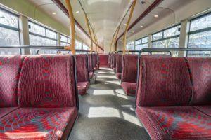 Empty seats in double decker bus