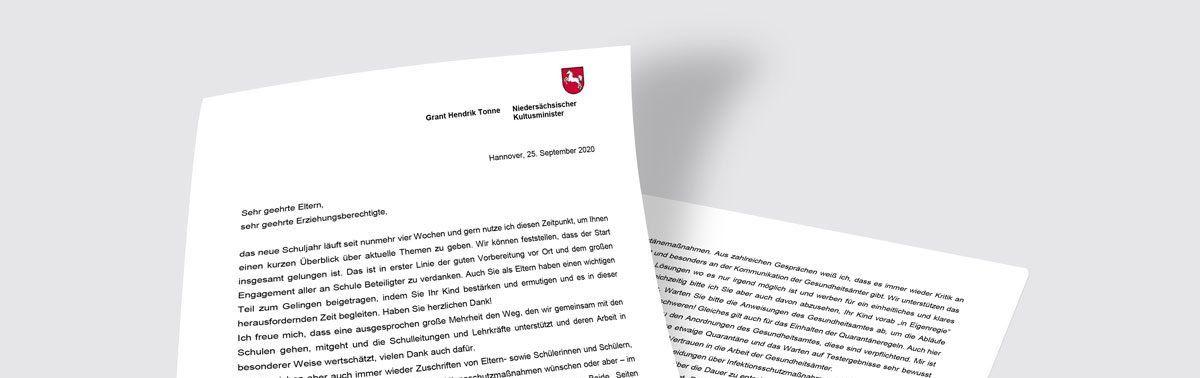 Brief des Kultusministers an Eltern und Erziehungsberechtigte