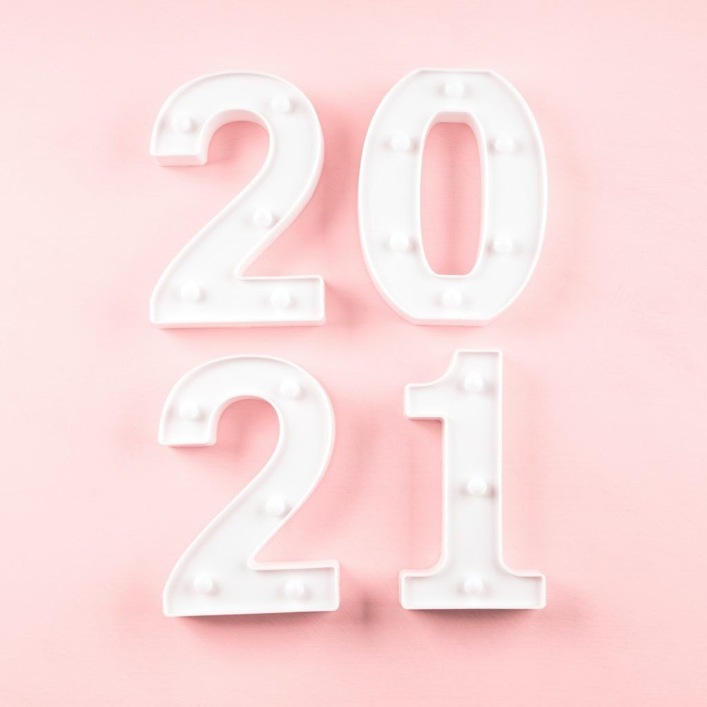 2021 New year numbers on pink background